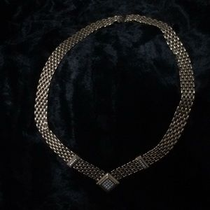 Gold necklace with rhinestones